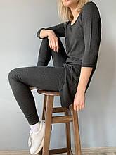 Женский костюм с удлиненной блузой 3/4 рукав и лосинами рр 44-58