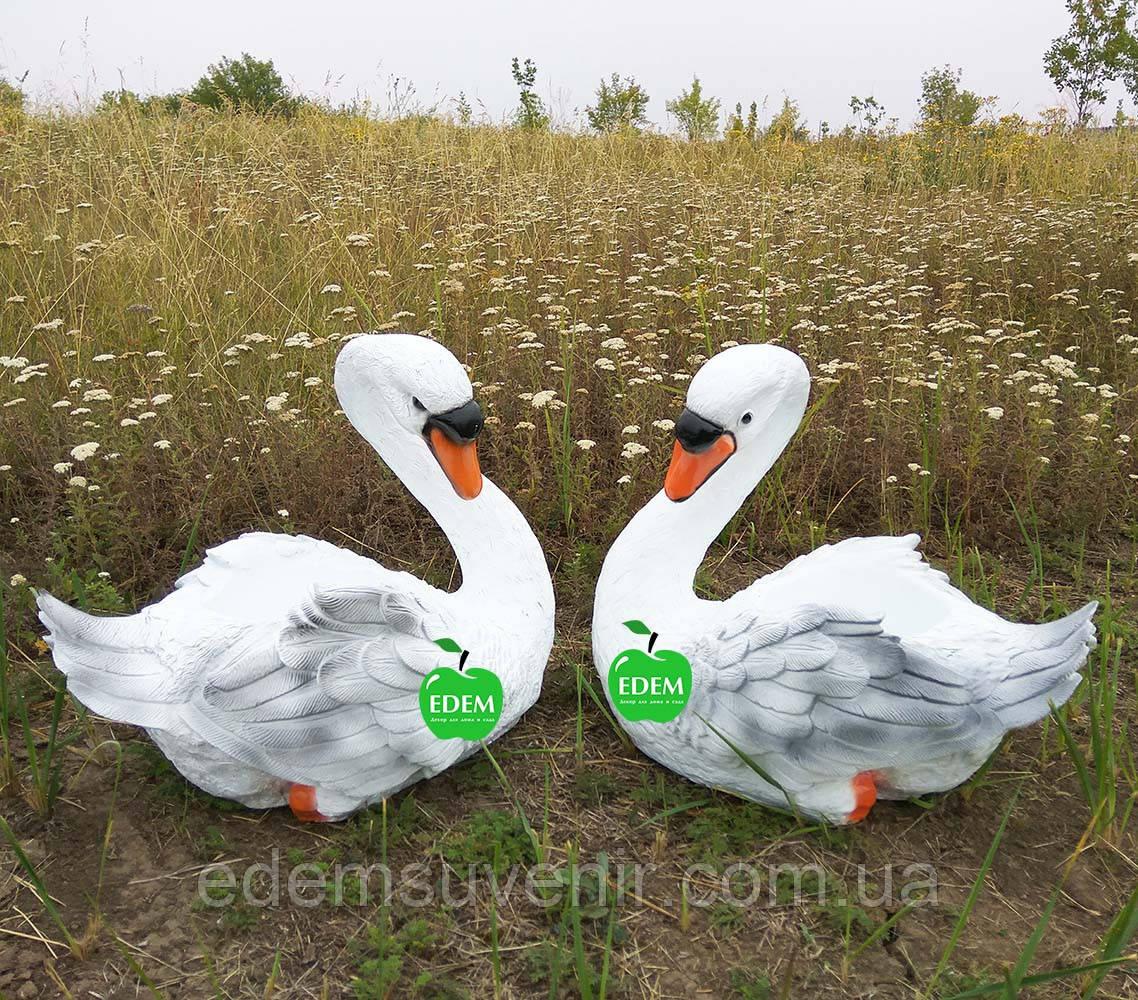 Садовая фигура подставка для цветов кашпо Лебедь средний правый и Лебедь средний левый