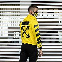 Мужской спортивный костюм в стиле Офф Вайт желтый XL