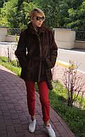 Шуба норковая  натуральная, коричневая (автоледи). Модель 20067493, фото 1