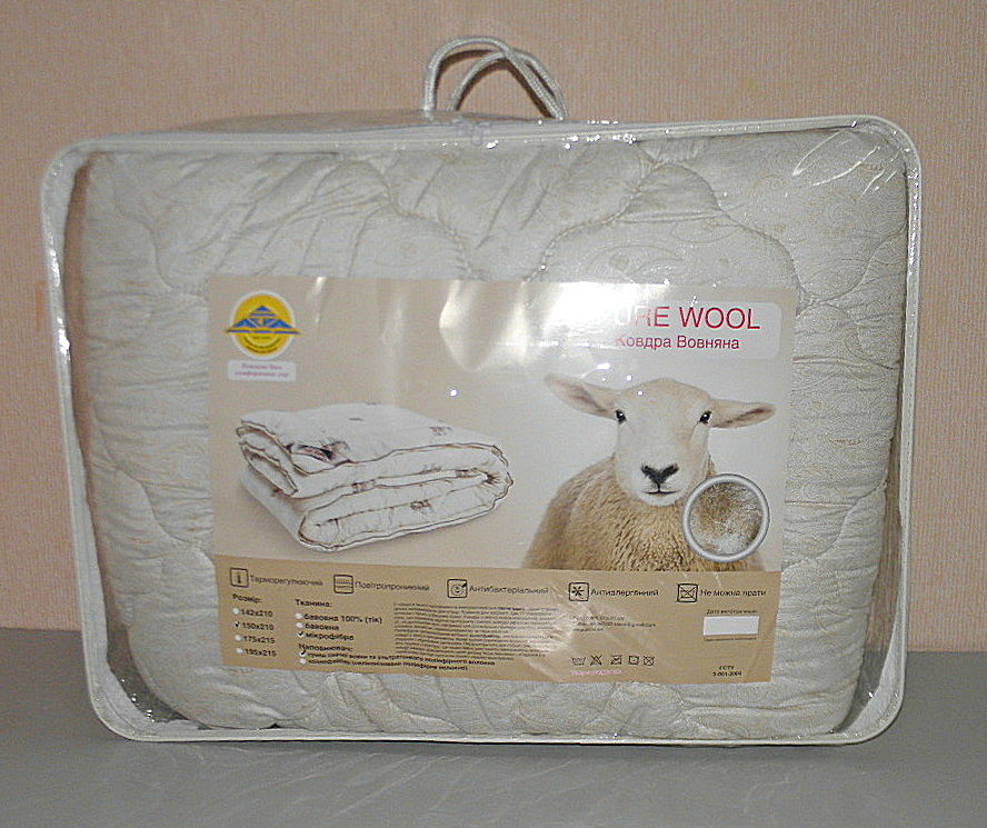 Одеяло евро размер наполнитель овечья шерсть ткань микрофибра  (Х-540)