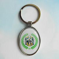 Брелок для ключей металлический овальный с логотипом