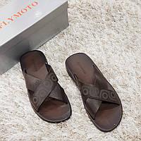 Сабо шлепанцы летние мужские из натуральной кожи Flymoto коричневые