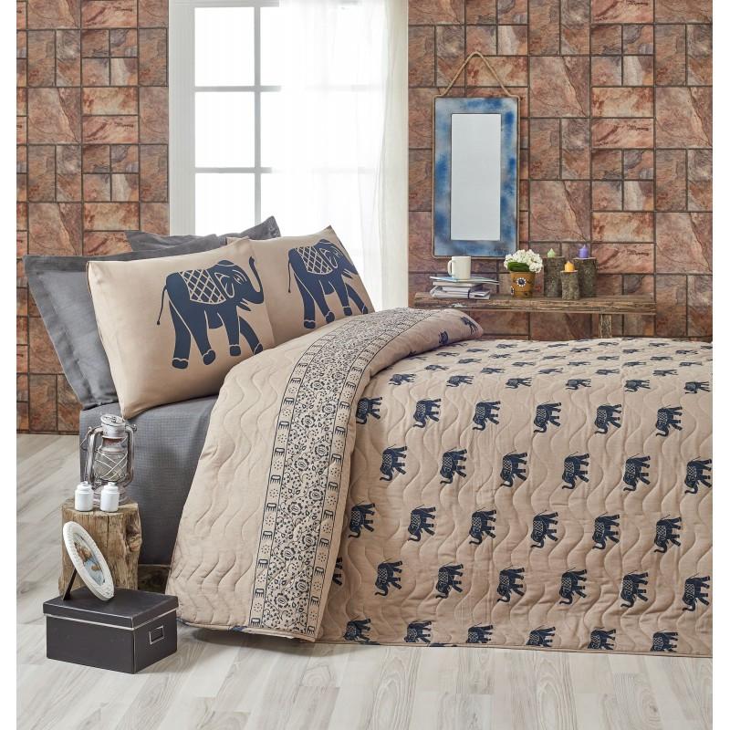 Покрывало 160х220 с наволочкой на кровать, диван Слон синий