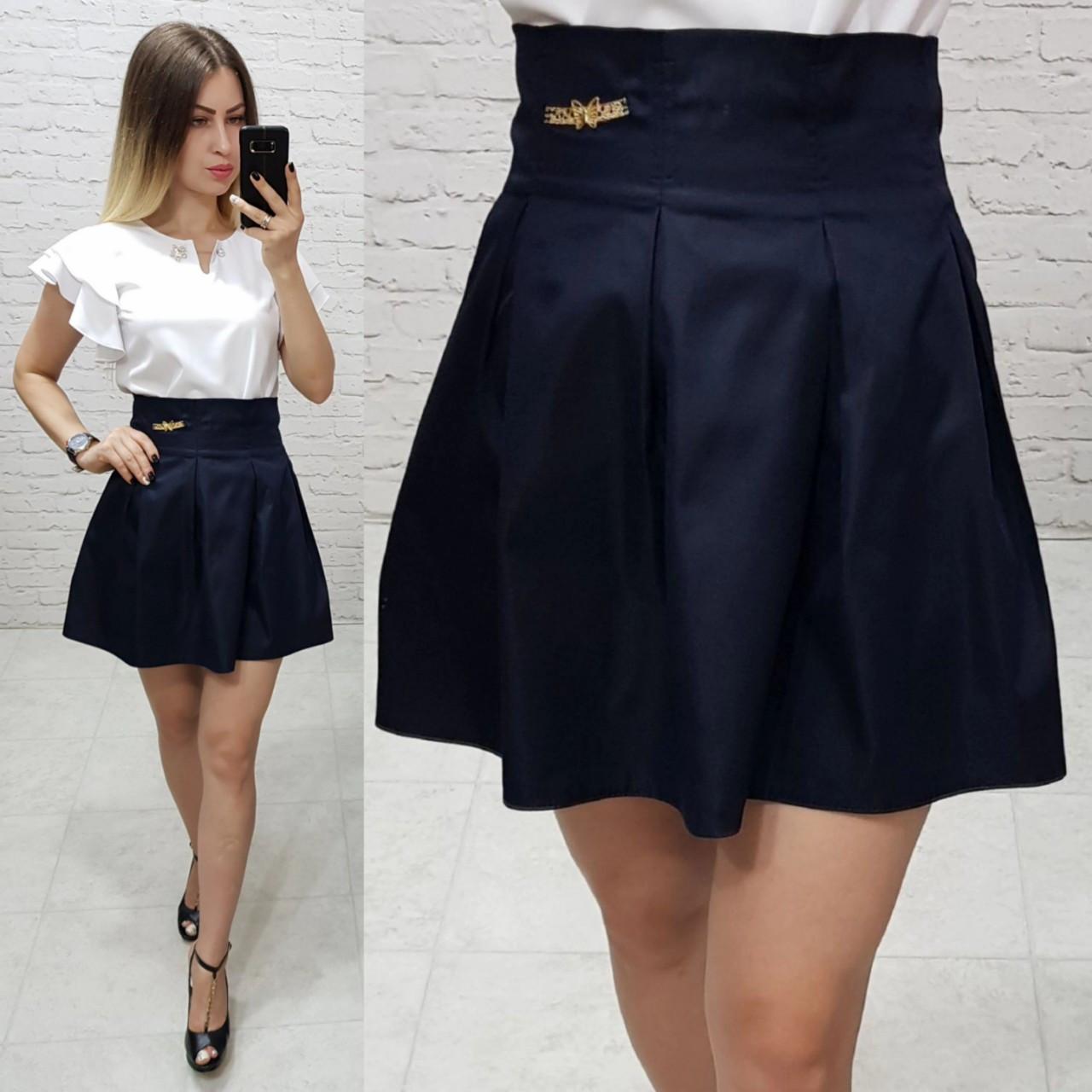 Модная юбка для девочек в складку темно-синего цвета, ткань мемори, арт. 1010