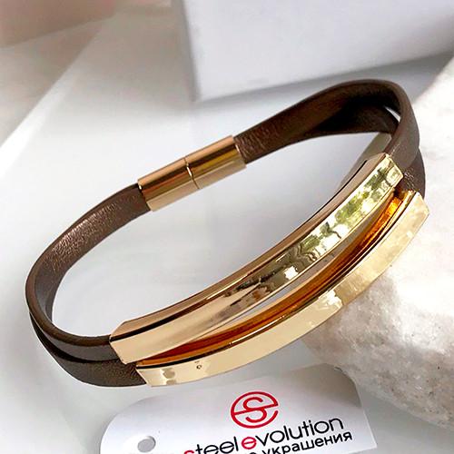 Кожаный женский браслет с позолотой 19 см 165315