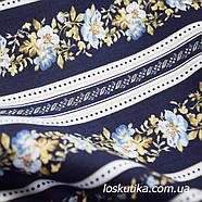 52005 Строгий орнамент. Полоса из цветов на синем. Квилтинговые ткани для шитья и рукоделия., фото 2