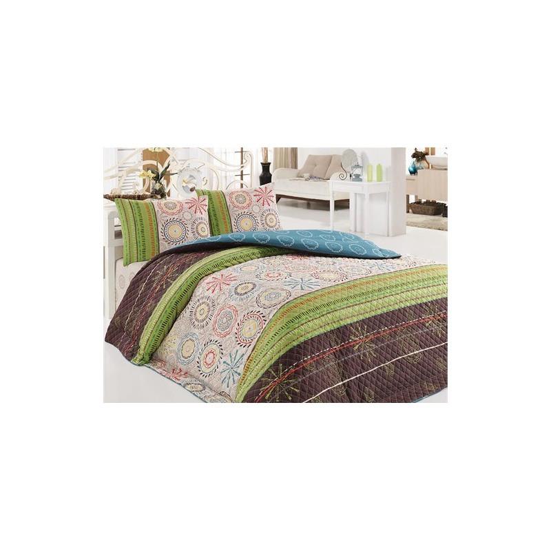 Покрывало 160х220 с наволочкой на кровать, диван Овен зеленый