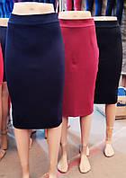 Узкая женская юбка за колено стрейч-коттон