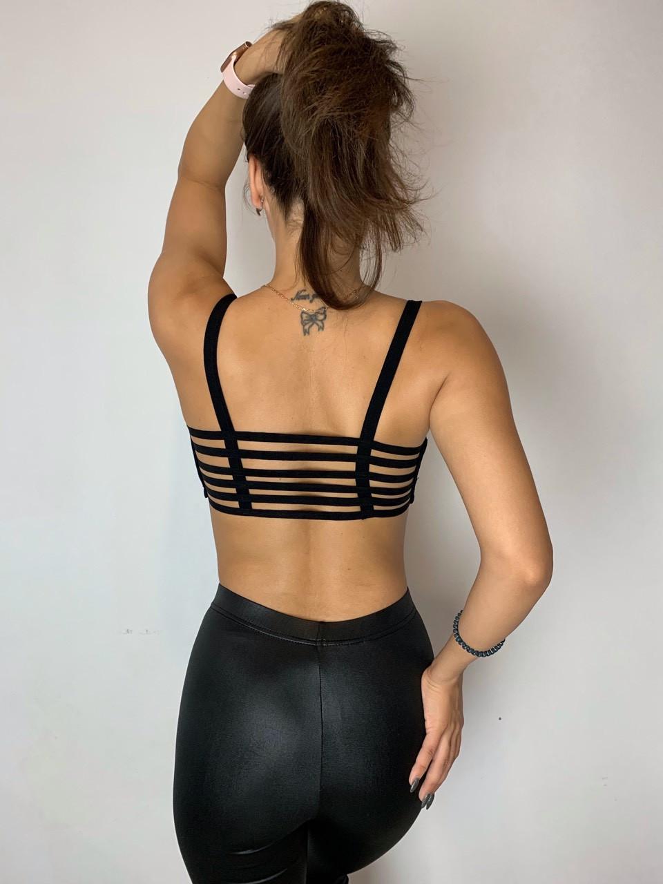Топ черный  спортивный  лиф  красивая спинка  для  танцев для  занятий спортом