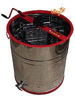 Медогонка из нержавейки 3-х рамочная, поворотная, корпус кассеты нержавейка, сетка оцинковка