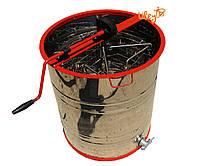 Медогонка из нержавейки 4-х рамочная, поворотная, кассеты и ротор нержавейка
