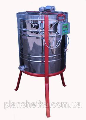 Медогонка 4-х рамочная, нержавейка, сетка оцинкованная с горизонтальным электроприводом и подставкой, фото 2