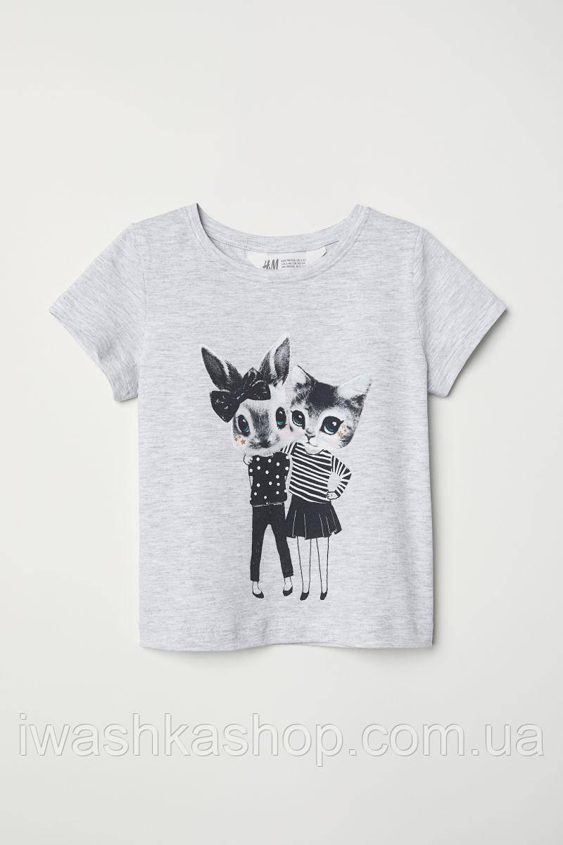 Стильная серая футболка с кошечкой и крольчихой на девочек 1,5 - 2 лет, р. 92, H&M
