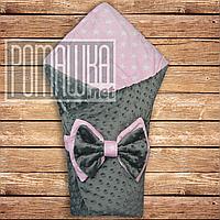 Двухсторонний демисезонный плюшевый конверт плед одеяло Minky Минки 80*70 на выписку весна осень 4811 Розовый