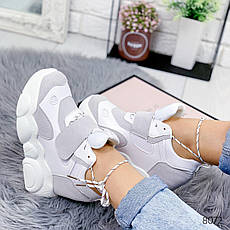 """Кросівки жіночі """"Lowos"""" сірого кольору з еко замші. Кеди жіночі. Мокасини жіночі. Взуття жіноче, фото 3"""
