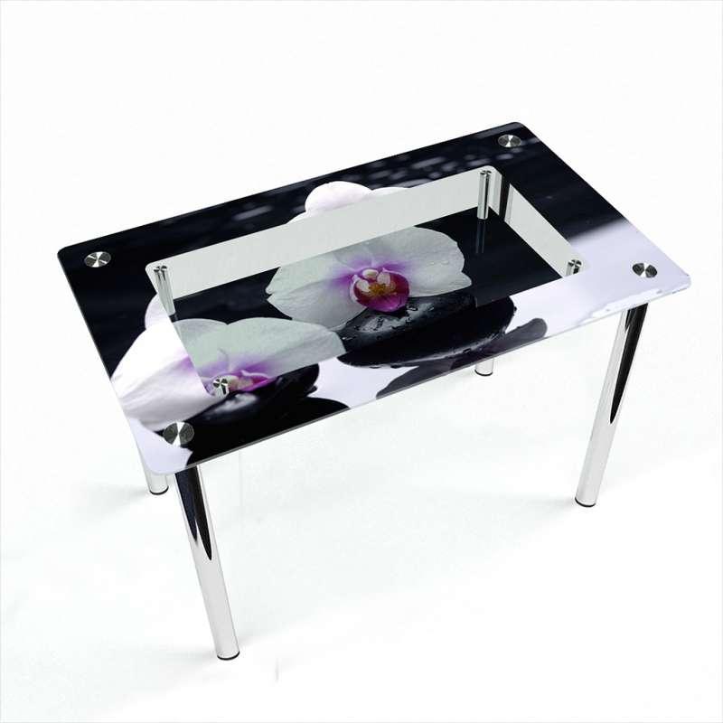 Стол кухонный стеклянный Прямоугольный с полкой Relax 91х61 *Эко (БЦ-стол ТМ)