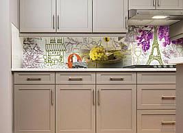 Кухонний фартух Вино і Париж фотодрук наклейки плівка для стін Франція Ейфелева вежа бузок 600*2500 мм