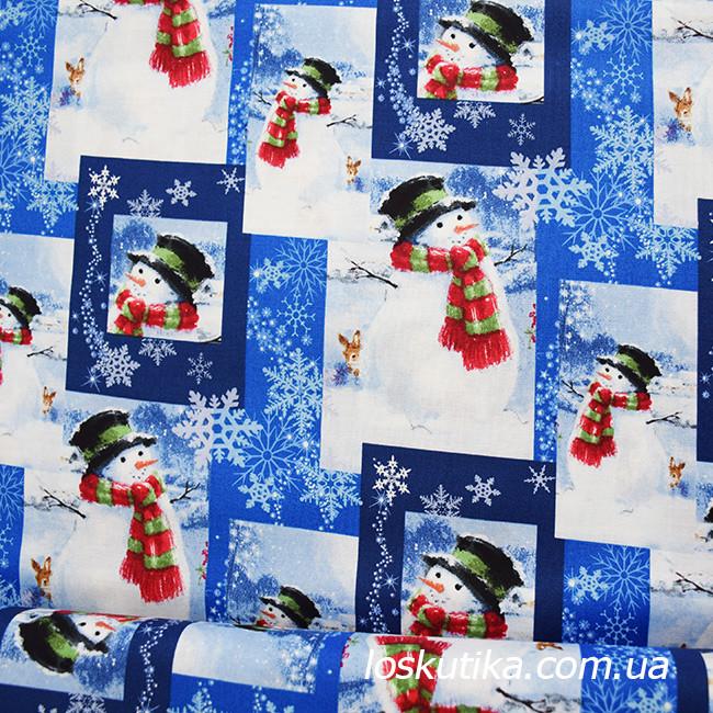 52007 Снеговик. Ткани с новогодним принтом. Подойдет для елочных игрушек, пэчворка, скрапбукинга и декора.