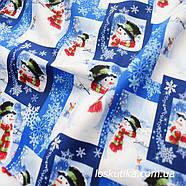 52007 Снеговик. Ткани с новогодним принтом. Подойдет для елочных игрушек, пэчворка, скрапбукинга и декора. , фото 2