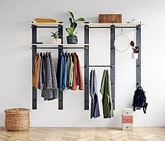 Навесная вешалка-стеллаж для одежды в стиле LOFT (Hanger - 02)