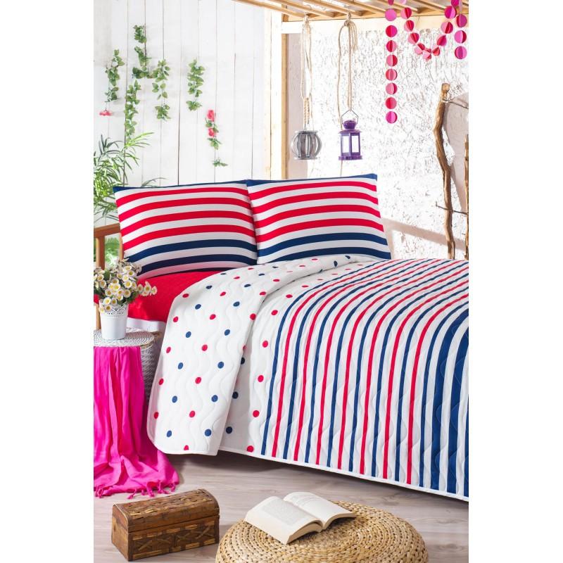 Покрывало 160х220 с наволочкой на кровать, диван Горох и полоска