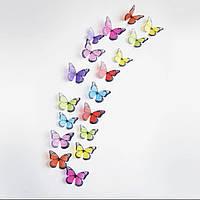 Интерьерная наклейка Бабочки разноцветные 3Д 3D (набор 18 шт)