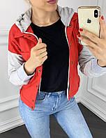 Куртка женская короткая из джинса со вставками из трикотажа (К28480)