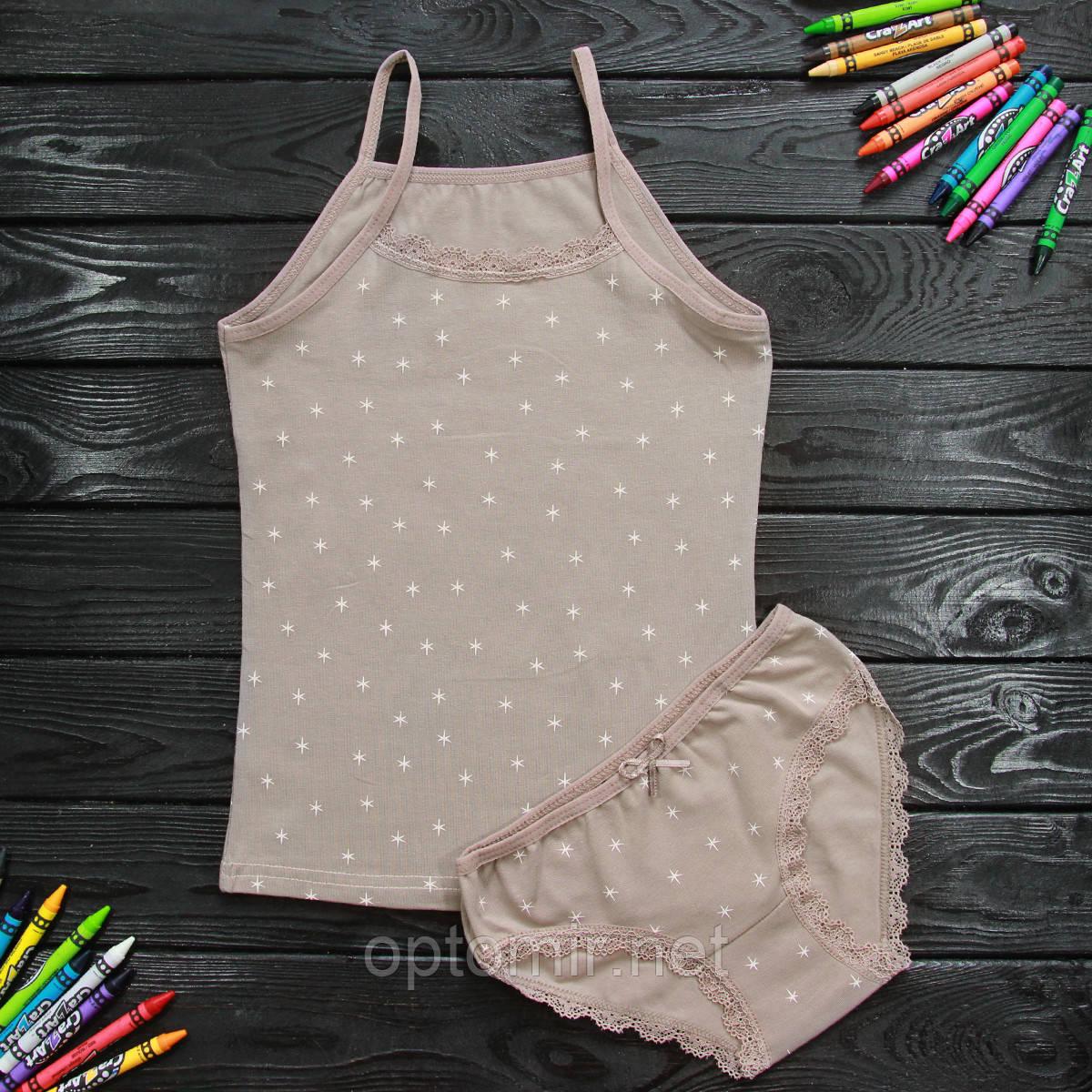 Комплект детский Donella с звездами коричневый для девочки на 8/9 лет| 1шт.