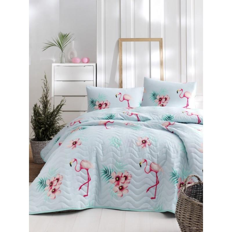 Покрывало 160х220 с наволочкой на кровать, диван Фламинго голубой