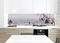 Кухонный фартук Нежная Магнолия (наклейки пленка для стеновых панелей, фиолетовые цветы, 3Д цветы, для кухни) 600*2500 мм