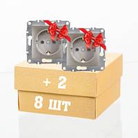 Розетка с заземлением бронза 10шт по цене 8 Schneider Electric Asfora EPH2900169