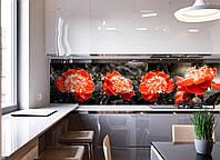 Кухонный фартук Красные пионы (наклейки пленка для стеновых панелей, красные цветы на черном фоне, 3Д цветы) 600*2500 мм