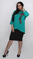 Симпатичный женский юбочный костюм размер 60-64, фото 1