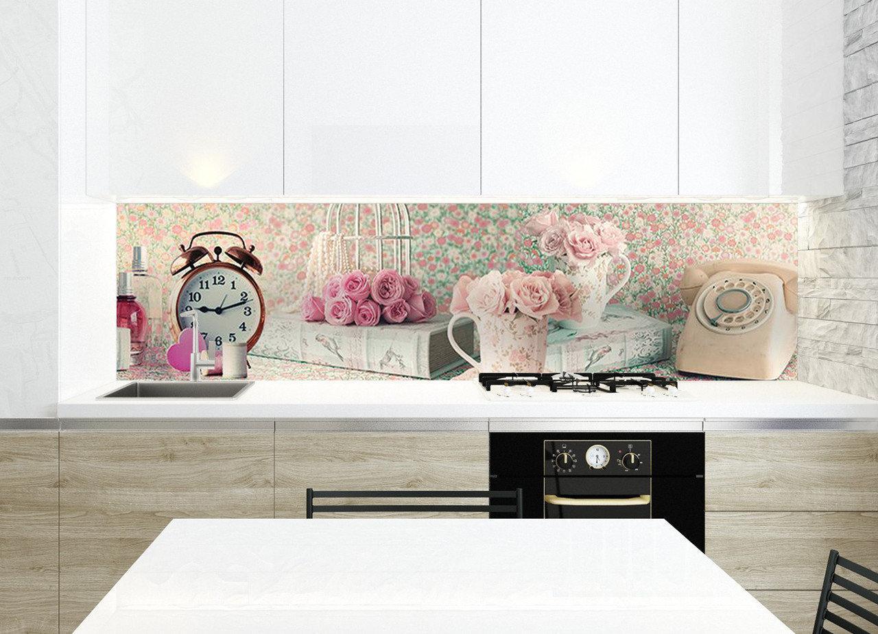 Zatarga / Кухонный фартук Прекрасное утро наклейки для стен розы винтаж дисковый телефон пленка кухня 600*2500 мм
