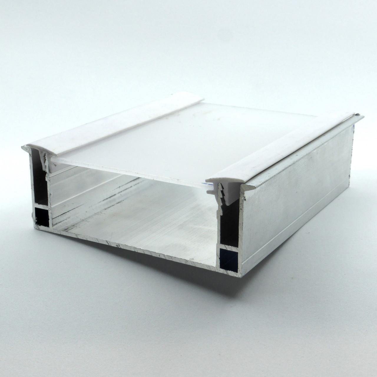 Профиль алюминиевый для натяжных потолков - парящая линия, с линзой, со вставкой. Длина профиля 2 м.