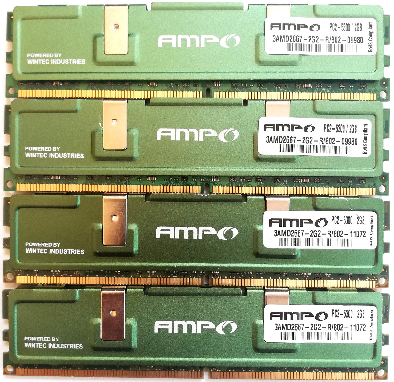 Комплект оперативной памяти Wintec AMPO DDR2 8Gb (4*2Gb) 667MHz PC2 5300U CL5 2R8 (3AMD2667-2G2-R) Б/У