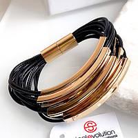 Женский черный браслет с позолоченной сталью 19 см 165325