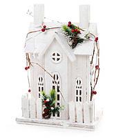 Декоративный деревянный домик с подсветкой (10 LED-ламп) 26см, цвет - белый, фото 1
