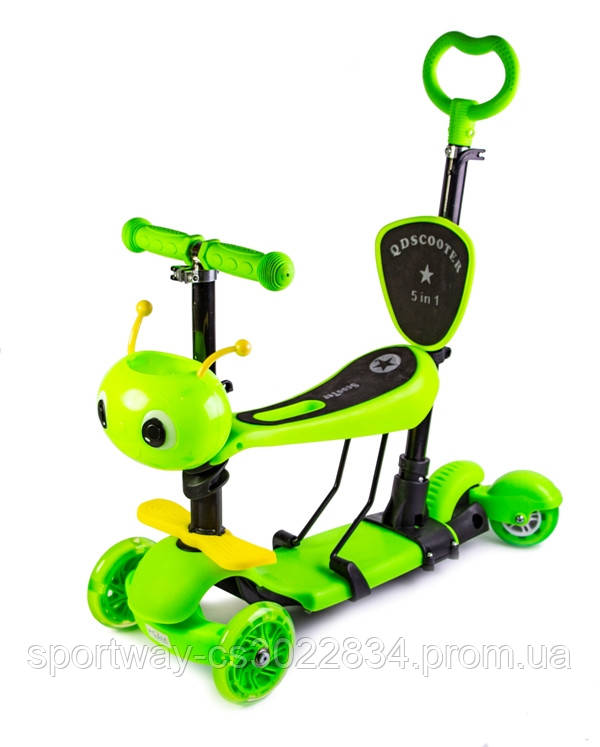 "Самокат Scooter 5in1 ""Пчелка"" с задним приводом! Салатовый цвет."