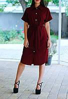 Женское платье-рубашка ниже колен под пояс