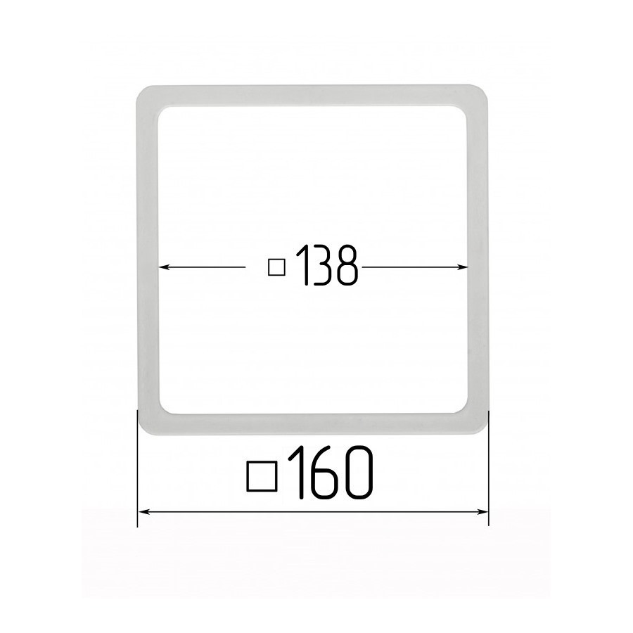 Термоквадрат для натяжних стель 148х148мм (внутрішній розмір) 160х160 мм (внутрішній розмір)