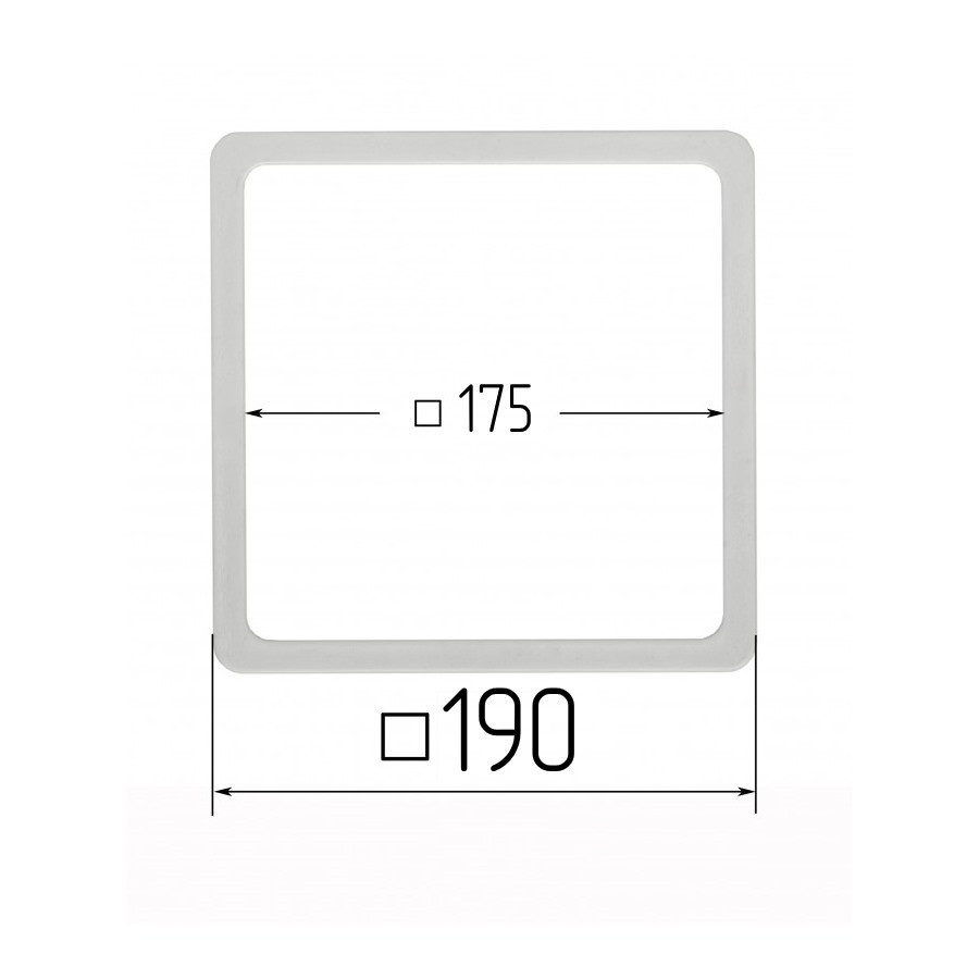 Термоквадрат для натяжних стель 175х175мм (внутрішній розмір) 190х190 мм (зовнішній розмір)