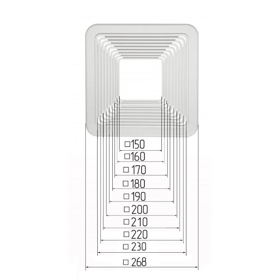 Платформа універсальна квадратна для вбудованих світильників розмірами 150-230мм (крок 10 мм) для монтажу натяжних стель