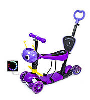 "Самокат Scooter 5in1 ""Пчелка"" с задним приводом! Фиолетовый цвет., фото 1"