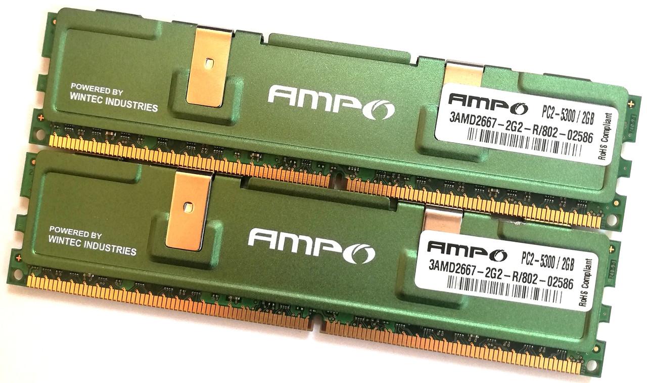 Пара оперативной памяти Wintec AMPO DDR2 4Gb (2Gb+2Gb) 667MHz PC2 5300U CL5 2R8 (3AMD2667-2G2-R) Б/У