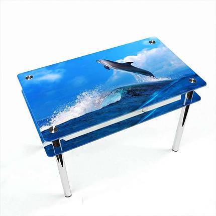 Стіл кухонний скляний Прямокутний проходить полицею Dolphin 91х61 *Еко (БЦ-стіл ТМ), фото 2