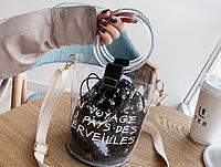 Прозрачная сумка с черным мешочком из паеток, Женские сумки, Прозора сумка з чорним мішечком з паєтками