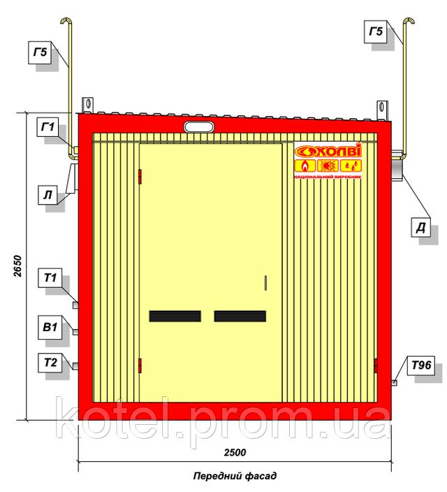 Передний фасад котельной КМ-2 300 кВт с котлами Колви КТН 1.100 СЕТ