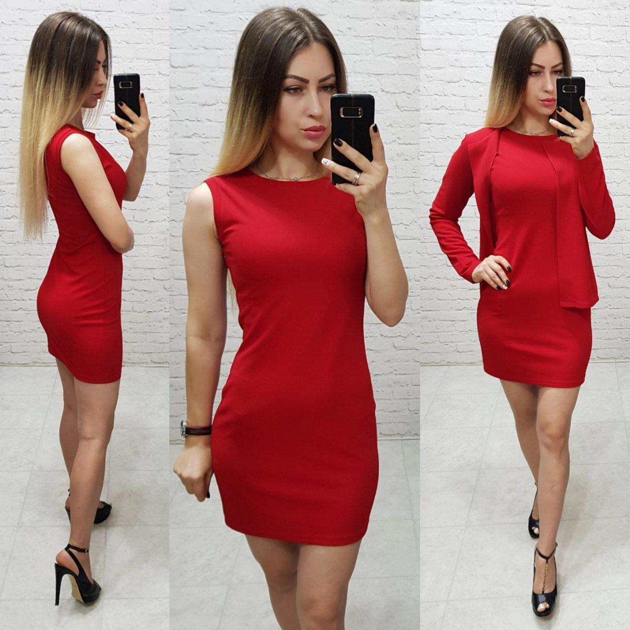 Платье с пиджаком, красного цвета, арт. 173